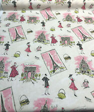 Waverly Tres Chic Black Pink Paris Eiffel Tower Fabric By The Yard