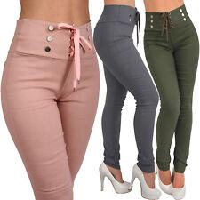 High waist pantalón elástico cordones abotonadura treggings leggings tubo de tela 234