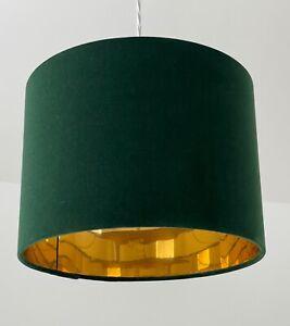 Lampshade Forest Green Velvet Mirror Gold Drum Light Shade