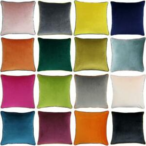 """Velvet Cushion Covers Meridian Piped Large Cushions Cover 22"""" x 22"""" by Paoletti"""