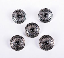 10X 30MM SUN FLOWER BLACK BEAD SLIVER SCREW BACK SADDLES LEATHERCRAFT CONCHOS
