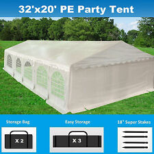 32' x 20' PE Party Tent - Heavy Duty Carport Canopy Wedding Shelter - White