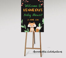 Personalised Woodland Welcome Sign -  Baby Shower Party - Fox Animals Forest