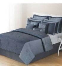 HOME CLASSICS DESIREE 12 Pc Comforter Set  BLUE New Bedding Pillows Fancy King