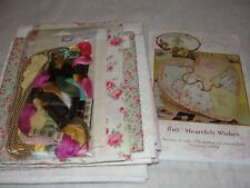 """HEARTFELT WISHES Embroidery Crazy Quilt Heart Pillow Crabapple Hill 19x5"""""""