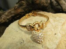 Gold tone Swarovski Swan Marked Rhinestone Heart Snake Link Chain Bracelet