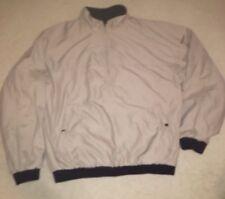 Footjoy Half Zip Reversible Nylon Fleece Golf Jacket Beige Green Mens Large