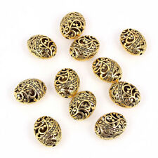 Gold Plated Oval Flower Pattern Spacer Charm Beads DIY Bracelet Necklace Making