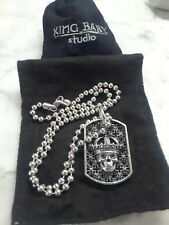 KING BABY STUDIO .925 Silver SKULL DOG TAG Celtic Cross Ball Chain necklace