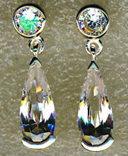 Cubic Zirconia Lab-Created Sterling Silver Fine Earrings