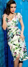 Pinup girl clothing White & Lilac Ava Dress Size XL 12/14 Madmen Retro Roses