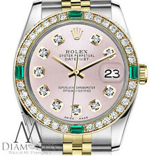 Ladies Rolex 31mm Datejust 2 Tone Metallic Pink Emerald Diamond Dial Watch