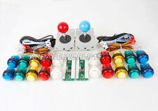 Arcade USB Encoder To PC Games Kit 2 joystick + 20 LED Illuminated Buttons Mame