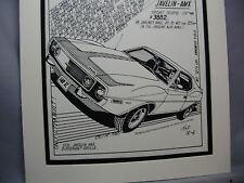 1972 Javelin AMX  Auto Pen Ink Hand Drawn  Poster Automotive Museum