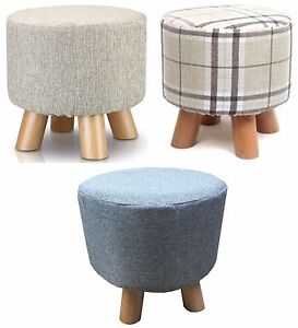 Shabby Chic Small Ottoman Round Pouffe Wooden Footstool  Stool/Wooden Leg Padded
