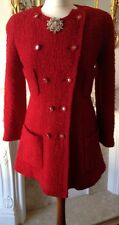 Authentic Chanel Boutique Red Vintage Jacket Dress Coat Boucle FR38 UK10 France