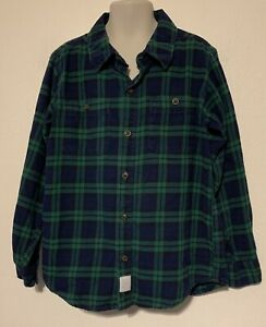 Carter's blue/green plaid long sleeve button up pocketed flannel shirt size 8