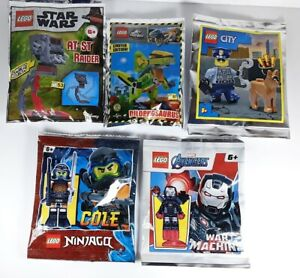 5 Packs Lego Jurassic World/Star Wars/Ninjago/City/Avengers Small Polybags NEW