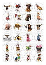 24 Dog Dogs Costume Funny Wafer / Rice Cupcake Topper Edible Fairy Cake Bun (1)