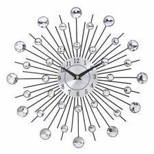 Wall Clock Silver Vintage Diamond Metal Sunburst Luxury Crystal Watch Home Decor