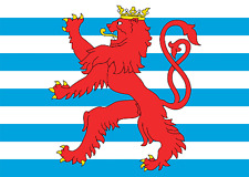 Luxembourg Civil Ensign Lion Flag Large 5 x 3 FT - Federal Crest Coat Of Arms