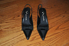 Womens NINA Black Leather Dressy Shoes Heels Size 6.5 M