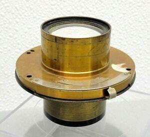 Antique Brass wet/dry plate Lens w Bausch & Lomb Unicum Shutter 1891, 8x10 10x12