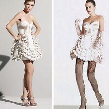 KAREN MILLEN Beige Satin Corset Ruffle Party Evening Prom Cocktail Dress 10 UK