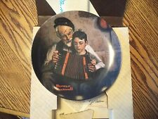 """Norman Rockwell """"The Music Maker"""" Plate with Box & Papers by Edwin Knowles"""