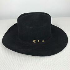 Vtg 80s Beaver Brand Black 5X Beaver Felt Cowboy Hat Gold Belt Buckle Band 7 1/8