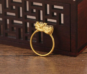 Solid 24K Yellow Gold Ring 3D Craft Pixiu Wealth Ring Band Size 4-7.5
