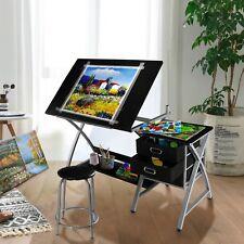 Tiltable Drawing Board Table Art Drafting Study Desk Tabletop W/stool