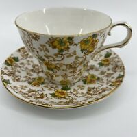 Victoria Finebone China C&E Tea Cup & Saucer Yellow Flower Vine