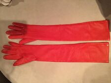 Lanvin Scarlet Red Leather Long gloves 100% Authentic Nwot