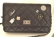 Authentic New CHANEL *SOLD OUT* Lucky Charms Black Reissue WOC Black CC Logo Bag