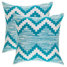 TreeWool, 2 Pack Cotton Canvas Ikat Chevron Accent Decorative Throw Pillowcases