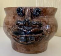 "Ugly Face Studio Art Pottery Planter Pot Bowl Signed B L A  4.25"" Tall 5.5"" Wide"