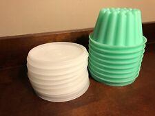 Vintage 16 Piece Dessert Gelatin Molds w/ Lids Plastic Perfect Storage Green