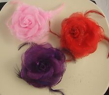 """3.5"""" PINK, RED OR PURPLE FABRIC/ORGANZA ROSE FEATHER BROOCH/CORSAGE/HAIRCLIP"""
