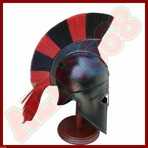 Roman Greek Corinthian Helmet with Black Red Plume by vimhari black Corian helme