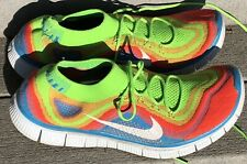 NIKE FREE FLYKNIT+ 5.0 USED SIZE 15 MULTICOLOR ELECTRIC GREEN WHITE 615805 316