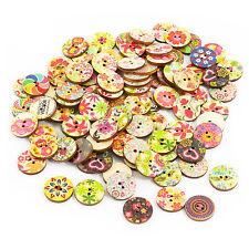 100 Stück Holzknöpfe Rund Buttons 20mm Blumen Nähen Kleidung Deko Basteln