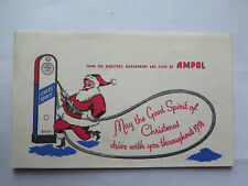 AMPOL PETROL MOTOR OIL CHRISTMAS SPIRIT WISHES CARD in EXCELLENT CONDITION 1958