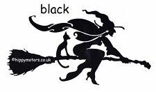 Black Witch on broomstick vinyl car sticker decal caravan camper van transfer