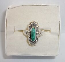 SOUTHWESTERN DESIGN MALACHITE  RING STERLING SILVER SIZE 4 BEAUTIFUL COLOR NICE