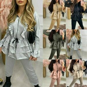 Womens Ladies Hooded Frill Zip Lounge Wear Suit  Pleated Two Piece Tracksuit Set