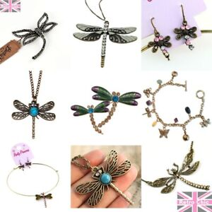 DRAGONFLY JEWELLERY necklaces/brooches/earrings BOHO gold/vintage brass/silver