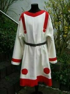 Medieval Costume Tunic Reenactment Roman White & Red Color Amazing Look
