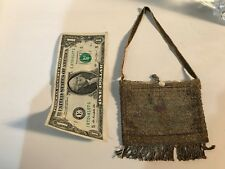 Small Antique Victorian Brown Tan Beaded Flapper Purse