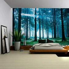 3D Blue Misted Forest Sitting Room TV Background Self adhesive Wallpaper Murals